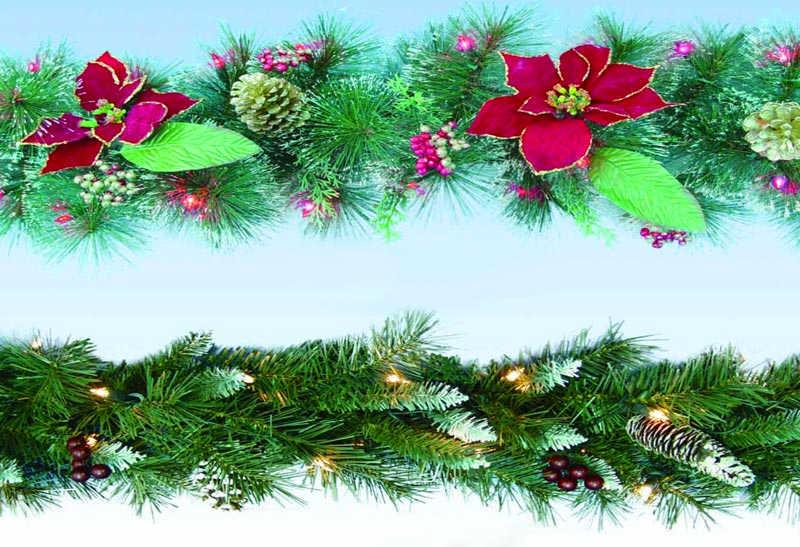 加装饰物的圣诞藤条
